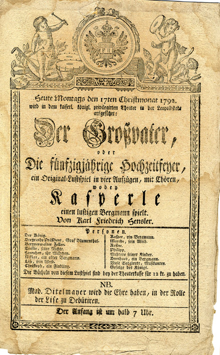Theaterzettel vom 12. Christmonat 1781